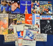France/Italy Home Rugby Programmes v Wales etc (13): Attractive Paris issues from 1979-1999 inc (