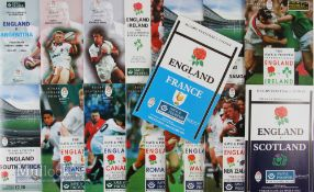 England Home Rugby Programmes 1993-1996 (15): Seven from the Five Nations, eight against a range