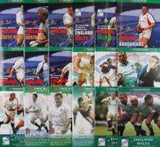 England Home Rugby Programmes 2000-2002 (18): All the Six Nations (inc first home game v Italy)