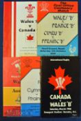 1980-94 Wales A & B Rugby Programmes etc (5): B v France B at Neath 80 & Pontypool 82, Australia