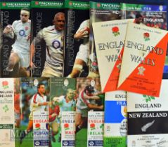 England Home Rugby Programmes 1970-2006 (13): 'Doublers' from previous lots, a selection of Five and