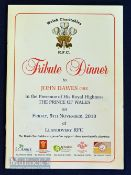 2010 Tribute to John Dawes Rugby Dinner Menu: 20pp stiff-covered, glossy-paged colourful menu with