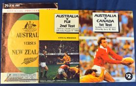 1985 Australian Test Trio of Rugby Programmes (3): Large clean colourful issues for 1st Test v