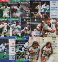 England Home Rugby Programmes 1997-1999 (14): Five from the Five Nations, nine v tourists/Autumn