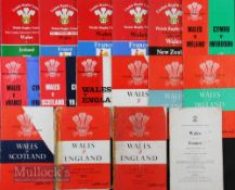 Wales Home Rugby Programmes 1956-1987 (16): 'Doublers' from lots 25, 26 & 27, joblot, some only