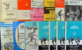 Welsh Club (inc Cup) Programmes 1970s (13): Cardiff v Bridgend (Cup) 1/1/75, Penarth 1977-8,