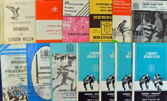 Welsh Club (inc Cup) Programmes 1970s (13): Cardiff v Bridgend (Cup) 1/1/75, Penarth 1977-8,