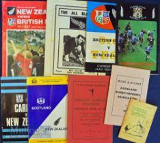 All Blacks Bundle of Rugby Programmes etc (9): NZ v Lions 3rd Test 1977, 4th Test 1983; v Scotland