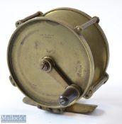 "Early J McGowan London 4"" brass crank winch trolling reel c1865 – with anti-foul rim, raised pillars"