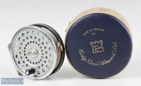 Hardy Bros England Marquis #8/9 alloy trout fly reel with smooth alloy foot, line guide, loaded with