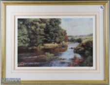 Frank Wright Signed limited edition print depicts river fishing scene, number 349/500, framed,