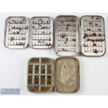 """3x Wheatley alloy fly cases/boxes with flies includes a 5"""" case with hinged compartments internally,"""
