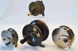 """4x interesting late 20th c reels – Vic 2 5/8"""" wide drum brass crank wind reel with raised check"""