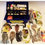 Selection of Fishing Fly-Tying Accessories within cantilever tackle box, consisting of a vice marked