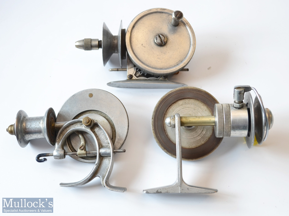 3x interesting Alloy Friction Threadline Reels – Very early Allcocks Patent No 276861 alloy reel