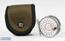 """Hardy Bros England Featherweight 2 7/8"""" alloy fly reel with line guide, smooth alloy foot marked"""