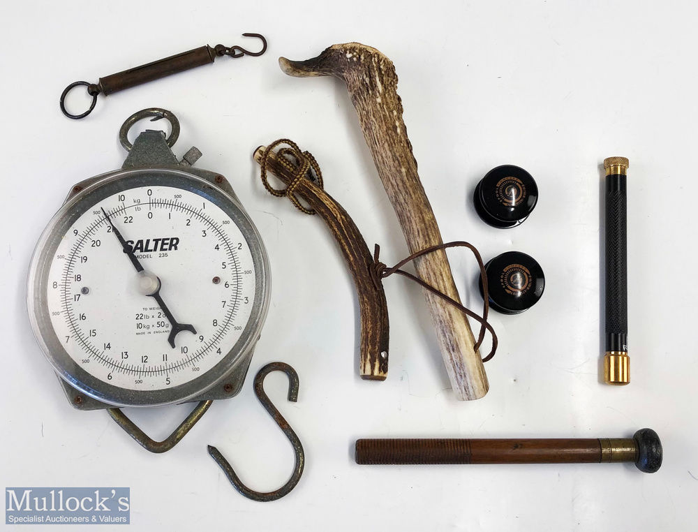 Mixed Fishing Accessories (8) – Salter model 235 scales with a smaller Salter hand held scales, 2