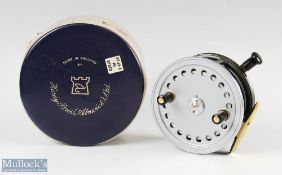 """Hardy Bros England Silex 4"""" alloy casting reel with ribbed brass foot, quick release, in very"""