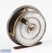 """Hardy Bros England Sunbeam 3 ¼"""" Dup Mk II alloy fly reel with smooth brass foot, horse shoe latch,"""