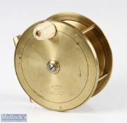 """Victorian Jones Maker 111 Jermyn Street London 4 ½"""" all brass Salmon fly reel stamped with early"""