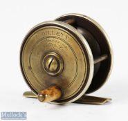 "Scarce J Gillett 2 ¼"" ebonite and brass London pattern trout fly reel with German silver rims,"