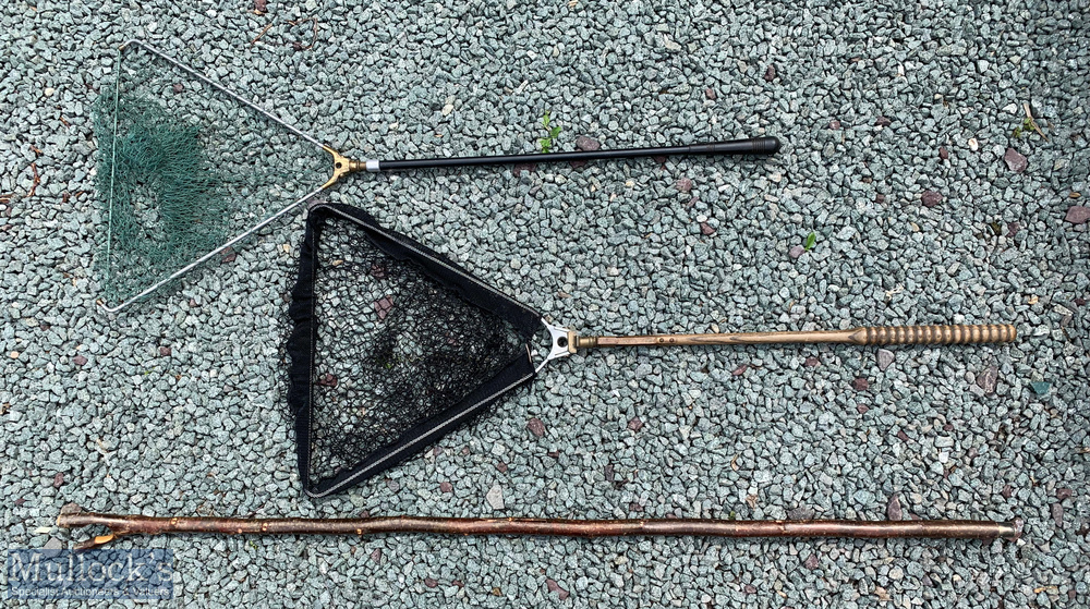 "2x Folding Landing Nets Ogden Smith ""Reversa Net' with brass spring clip, alloy net arms and"