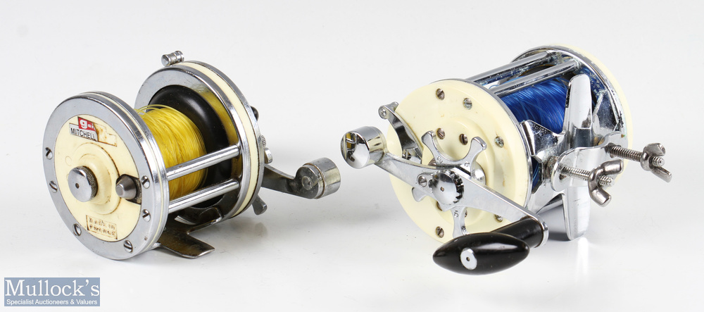 Mitchell 600 multiplier salt water reel with white end plates and chrome construction, with rod - Image 3 of 3