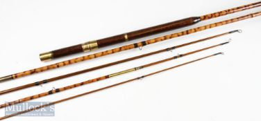 Unnamed 5 piece cane and greenheart valise rod making up 3 various rods, appears in good overall