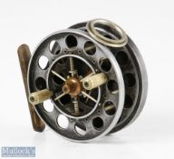 """Fine and Rare S Allcock & Co 3"""" double ventilated Aerial centrepin reel c1923-1934 with twelve large"""