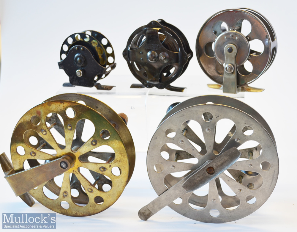 """Collection of early American Skeleton Style Pillared Drum Core Centre Pin Reels (5) – Pflueger """" - Image 2 of 2"""