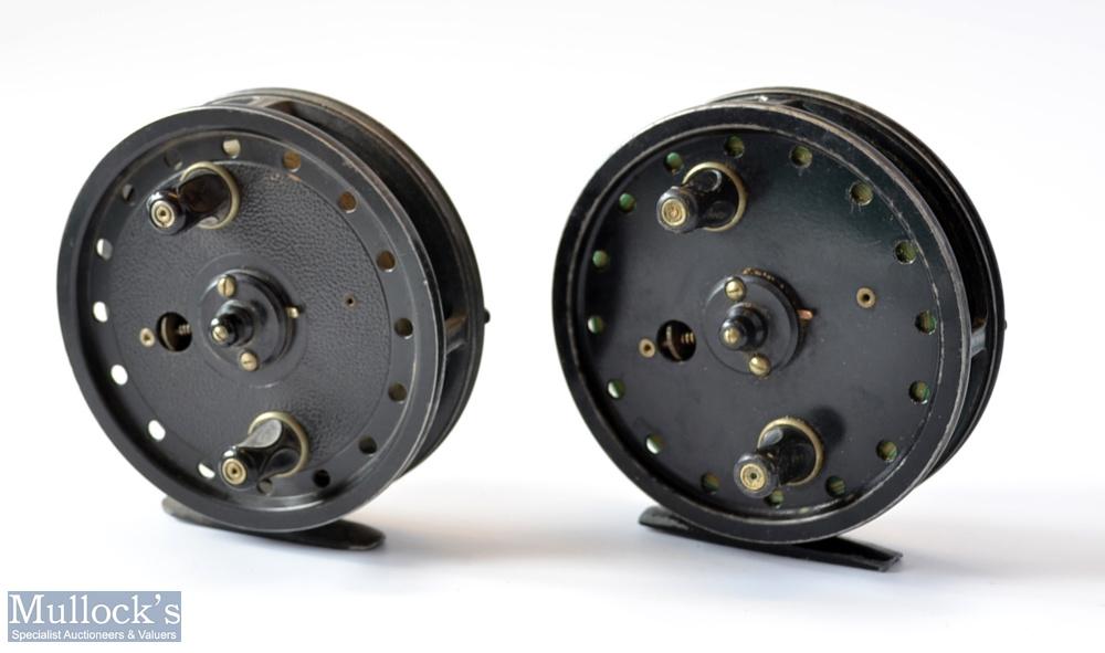 "2x Good 4"" x centre pin trotting reels – Allcocks Flick-Em black alloy reel , 2x screw drum"