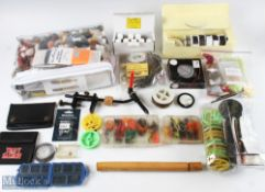 Quantity of Fly Tying Materials and Tools incl J Weaver & Son vice, 8 bottles of Veniard 'Cellire'