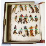 Large Collection of Gut Eye Salmon and Trout Flies in Leather Bound Book Type Case in various