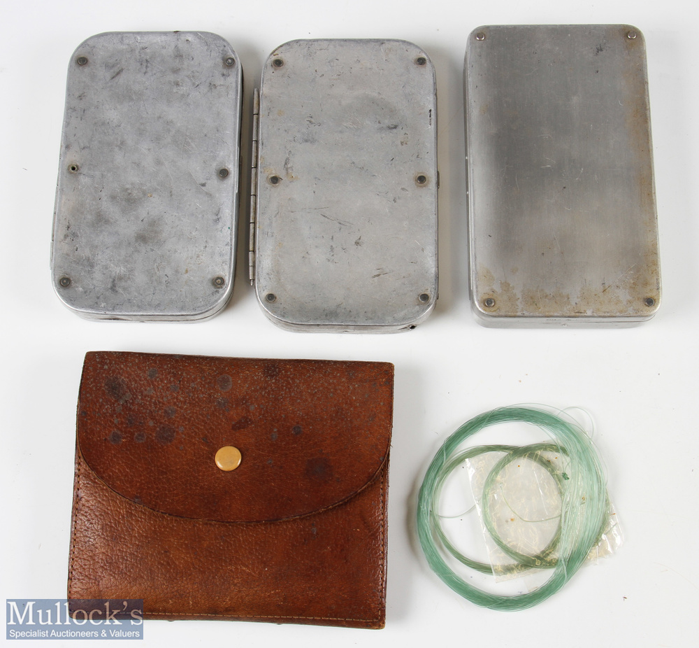 3x Wheatley Alloy Fly Boxes – incl Kilroy patent fly box, and 2 leaf clip boxes, one having Army &