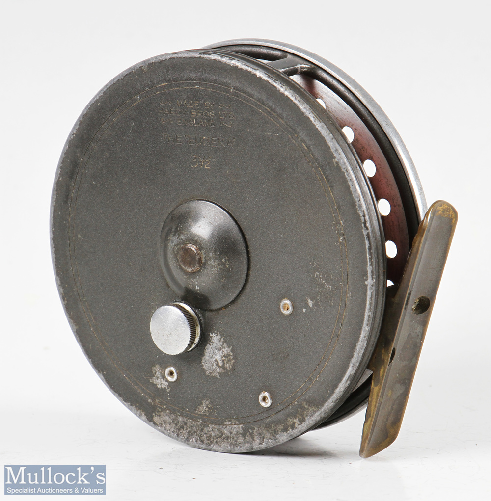 """Hardy Bros England Eureka 3 ½"""" alloy centre pin reel with ribbed brass foot, on/off check to - Image 2 of 2"""