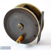 """Fine """"The Fly Fishers SEJ Winch"""" 2.75"""" brass and ebonite fly reel - with German silver rims, bone"""
