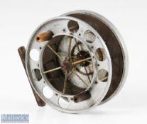 "Rare S Allcock & Co 4 ½"" Aerial aluminium and ebonite centrepin reel c1910-1914 with ventilated"