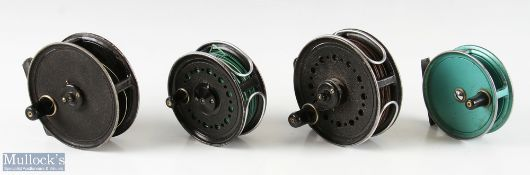 """4x J W Young & Sons Fly reels to include 4"""" Landex with wire line guide n black, a 3 ½"""" Pridex in"""