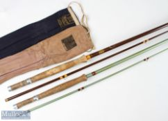 2x 8ft 2pc hollow glass fly rods fitted with Hardy reel fittings and Hardy cloth bag; and Hardy