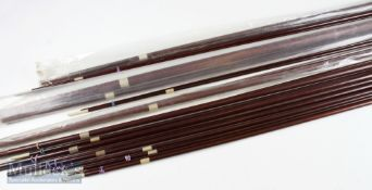 Selection of 12x matching glass rod blanks in various lengths cover match, ledger & fly rods, all