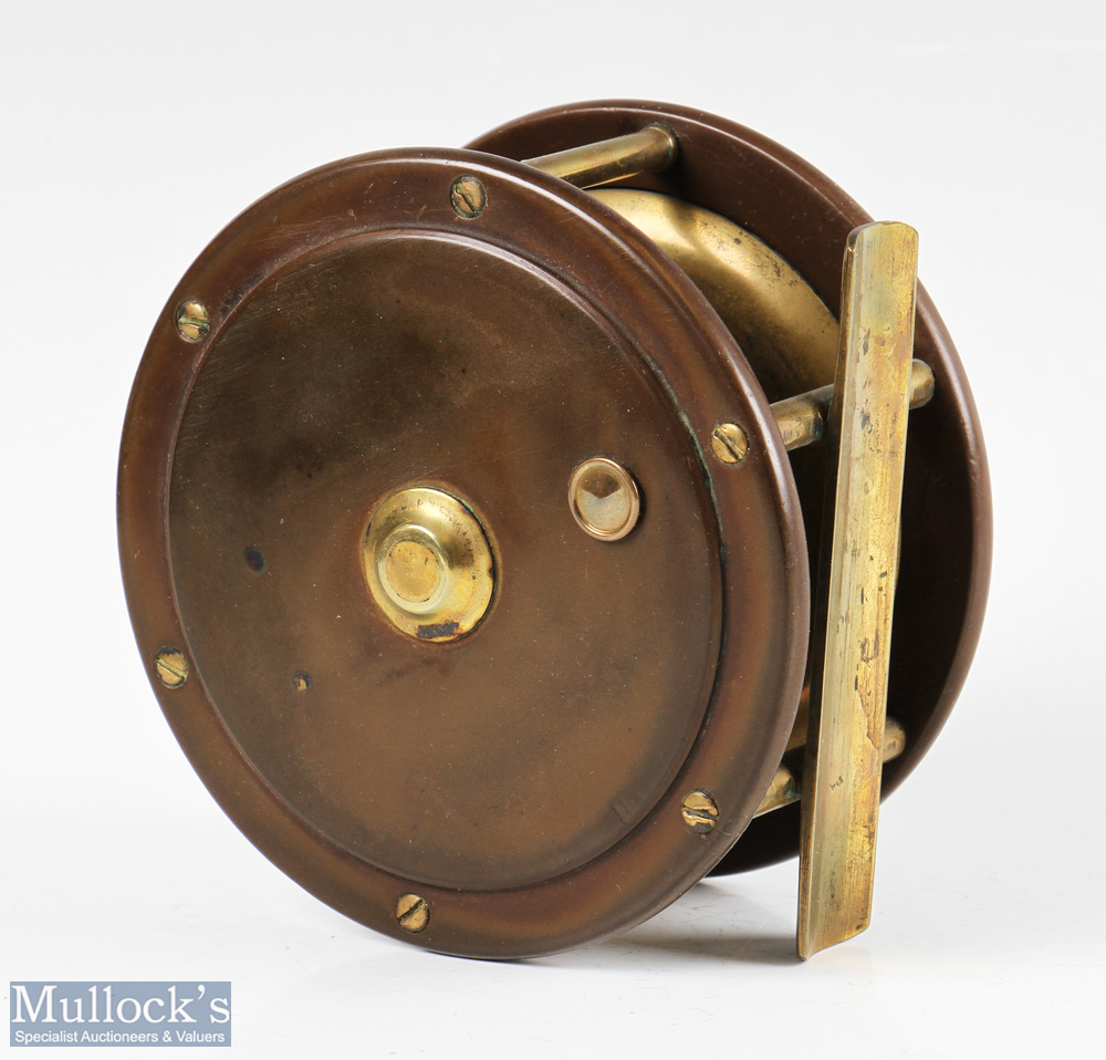 """E Paton Perth 4 ¼"""" brass and ebonite salmon fly reel with black handle, smooth foot, strong check, - Image 2 of 2"""