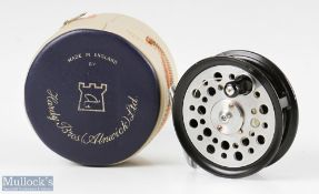 """Fine JW Young Orvis Battenkill 3 ¼"""" alloy fly reel with smooth alloy foot, dimple black handle,"""
