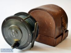 """Fine Eaton and Deller Makers 6&7 Crooked Lane London 4.25"""" Brass and Ebonite Wide Drum Salmon Reel –"""