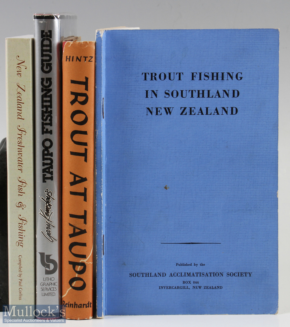 "4x New Zealand Fishing Books – Hintz, O. S. ""Trout at Taupo"" 1955 1st edition, Kemsley, Gary """