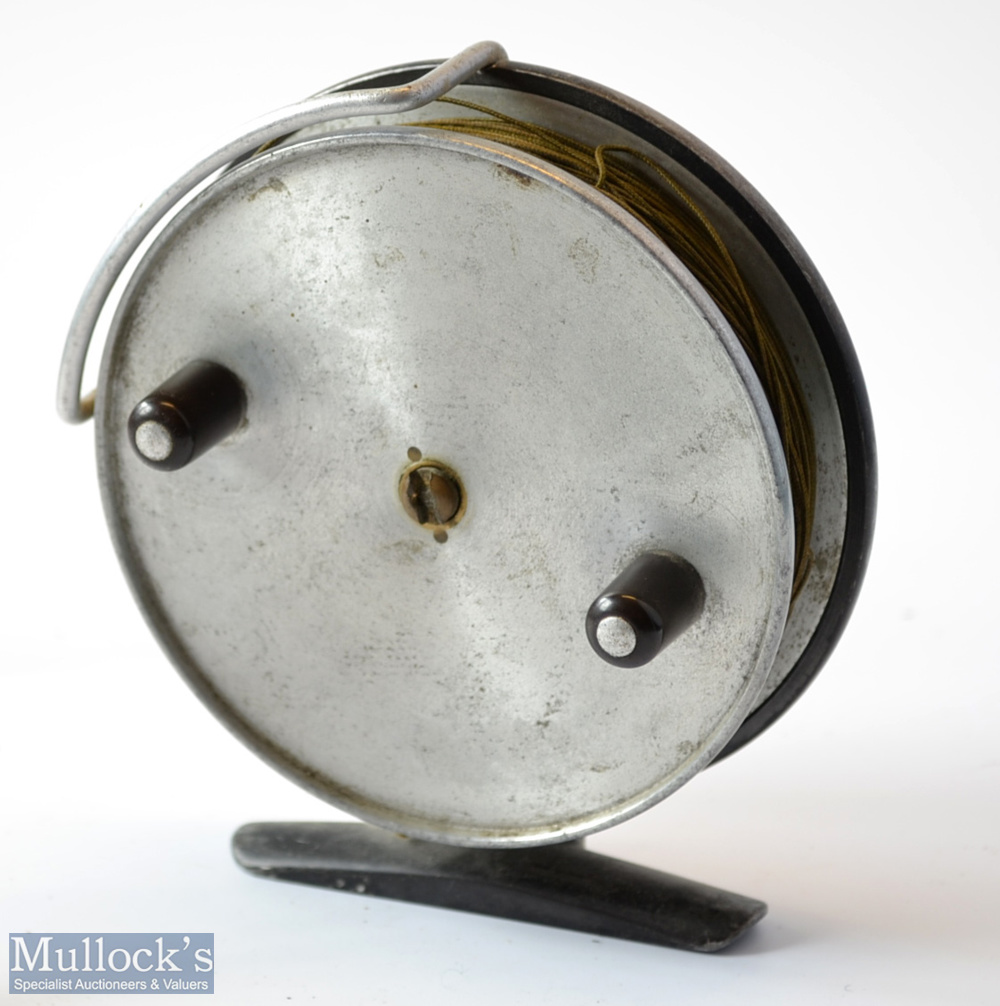 """Hardy Bros Alnwick The Triumph 4"""" alloy centre pin trotting reel c1940s – with dark leaded finish"""