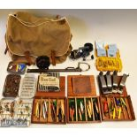 Canvas Fishing tackle bag and accessories including a Mitchell Match 440A fixed spool reel and