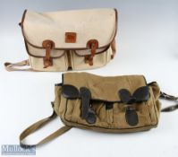 2 Vintage Canvas Fishing Bags one by Abu Garcia in cream colour with leather straps and edging