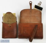 R Anderson & Sons Edinburgh leather fly wallet with parchment & cloth leaves, with a leather cast