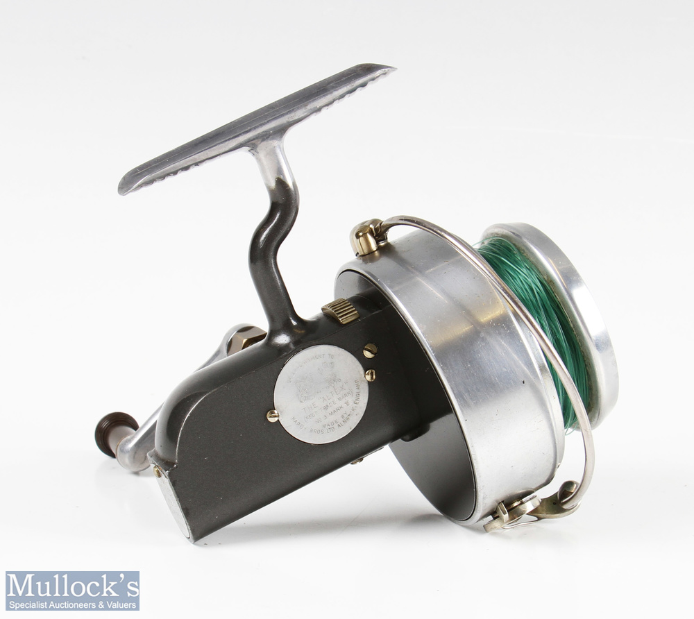 Hardy Bros Altex No3 Mk V fixed spool reel with folding handle, Brit Pat end plate, on/off check, - Image 3 of 3