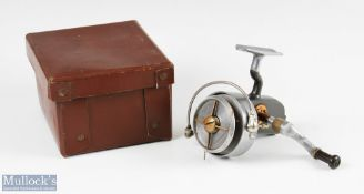 Hardy Bros England Altex No2 Mk V fixed spool reel with folding handle, Brit Pat end plate, full